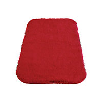 Faux Fur Red Oblong Rug