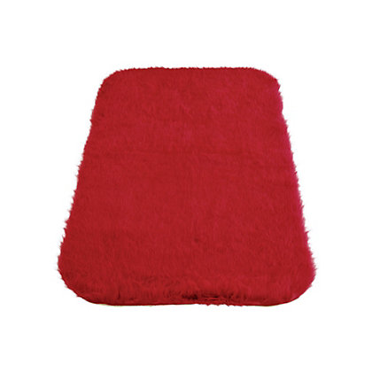 Image for Faux Fur Red Oblong Rug from StoreName