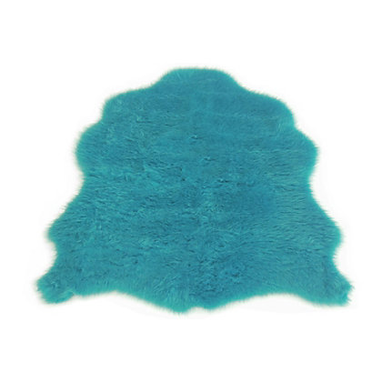 Image for Faux Fur Teal Sheep Shape Rug from StoreName