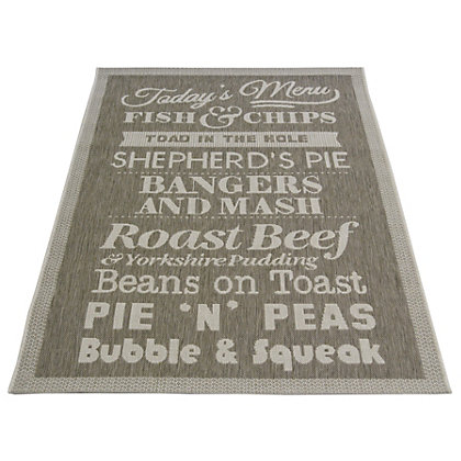 Image for County Menu Taupe Rug - 120 x 170cm from StoreName