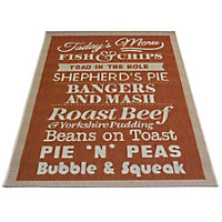 County Menu Terracotta Rug - 80 x 150cm