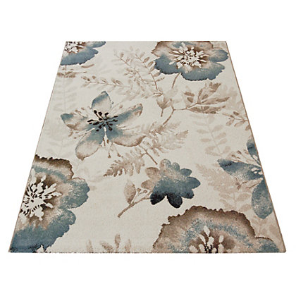 Image for Fontana Natural Teal Rug - 80 x 150cm from StoreName