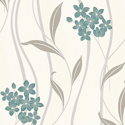 Image for Superfresco Elise Teal Silver Wallpaper from StoreName