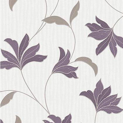 Image for Superfresco Colours Alannah Wallpaper - Plum & Silver from StoreName