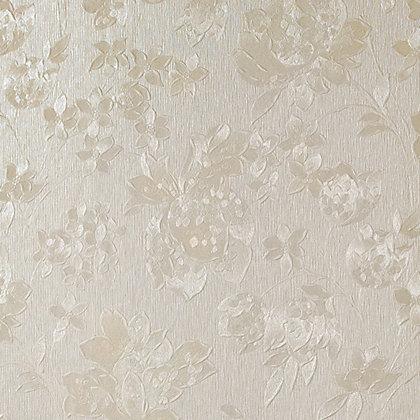 Image for Superfresco Colours Floral Silk Wallpaper - Cream Shimmer from StoreName