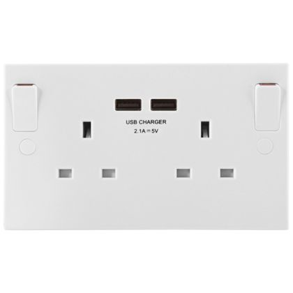 Masterplug Double Socket with USB Charging - White Moulded ...