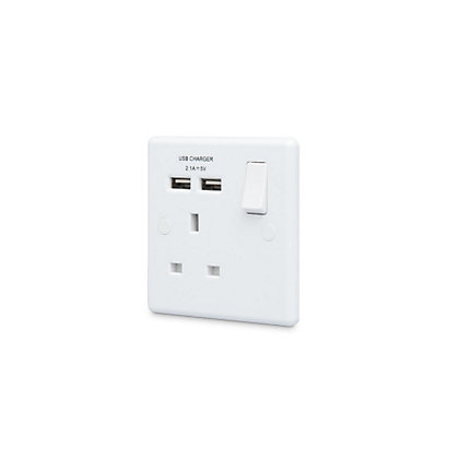 Image for 13A Single Switch Power Socket with USB Charging - Round Edge from StoreName