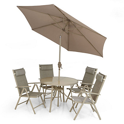 Rimini 6 seater metal garden furniture set for Outdoor furniture homebase