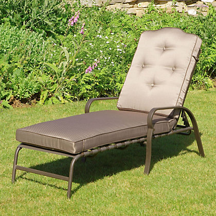 Woodbury pair of metal sun loungers for Garden decking homebase