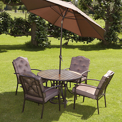 Image for Woodbury 4 Seater Metal Garden Furniture Set with Parasol from StoreName
