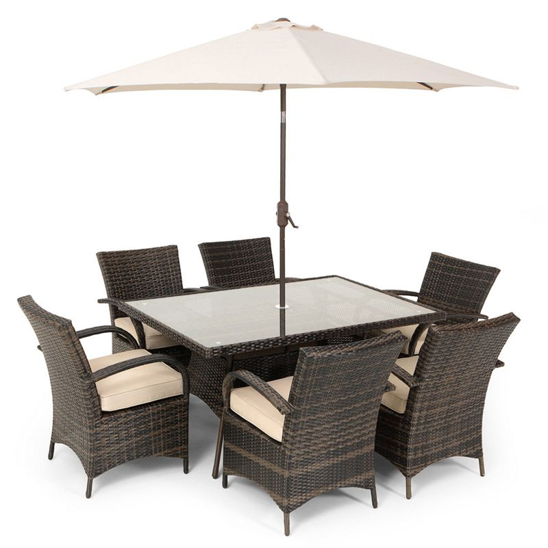 sale on mixed brown rattan 6 seat garden furniture set. Black Bedroom Furniture Sets. Home Design Ideas