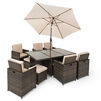 Mixed Brown Rattan 6 Seater Garden Furniture Cube Set