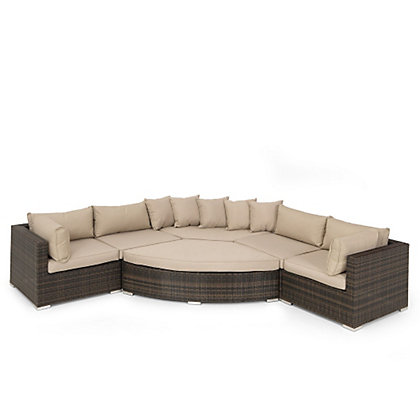 For Mixed Brown Rattan Grand Garden Corner Sofa Set From StoreName