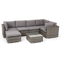 Grey Rattan Corner Garden Sofa Set