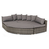 Grey Rattan Effect Grand Garden Corner Sofa Set