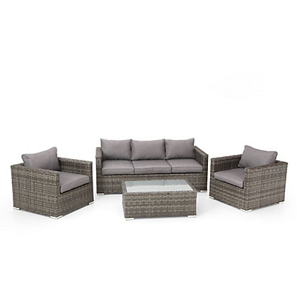 Image for Grey 3 Seater Rattan Effect Garden Sofa Set from StoreName