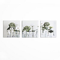 Green Flowers Canvas  - Set of 3