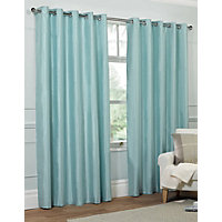 Faux Silk Eyelet Curtains - Duck Egg 66 x 54in