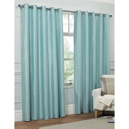 Image for Home of Style Faux Silk Eyelet Curtains - Duck Egg 66 x 54in from StoreName