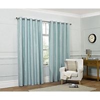Home of Style Faux Silk Eyelet Curtains - Duck Egg 66 x 90in