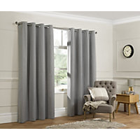 Home of Style Twill Curtains - Grey - 66 x 54in