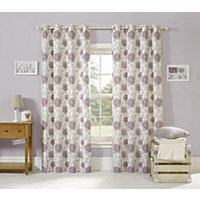 Home of Style Moorland Floral Curtains - Plum - 66 x 54in