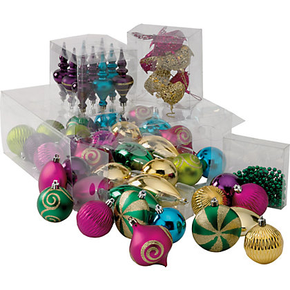 Paradise Shatterproof Christmas Tree Decorations Pack Of 52