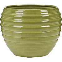 Moss Green Ripple Effect Pot - 16cm