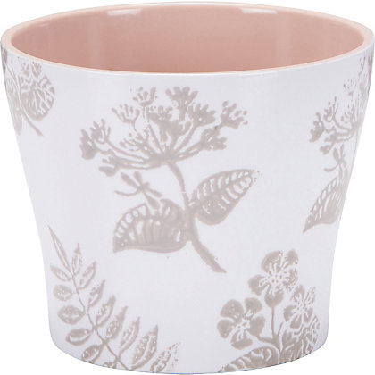 Image for Taupe & White Blossom Pot - 13cm from StoreName
