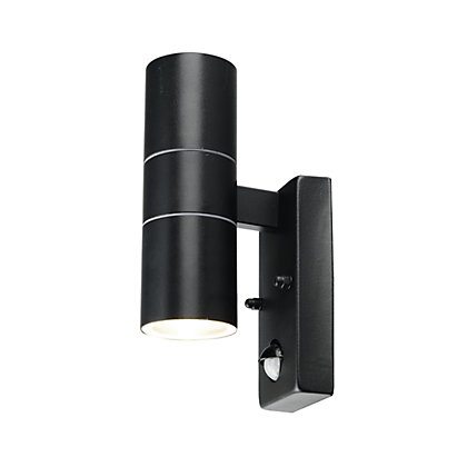 Image for Radius Double Wall Light with PIR Black from StoreName