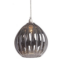 Smoke Ribbed Glass Pendant Light
