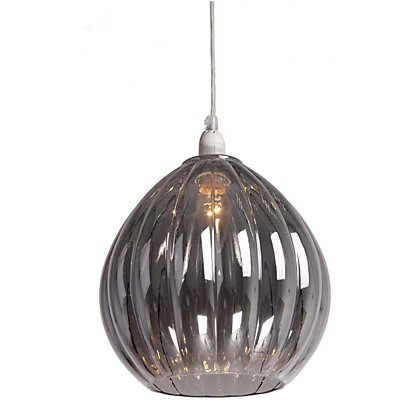 Image for Smoke Ribbed Glass Pendant from StoreName