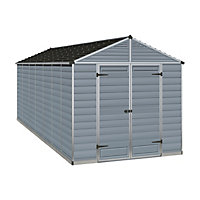 Palram SkyLight Dark Grey Apex Shed - 8ft x 16ft