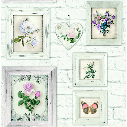 Image for Fresco Floral Frames Wallpaper from StoreName