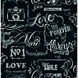 Fresco Chalkboard Messages Black Wallpaper