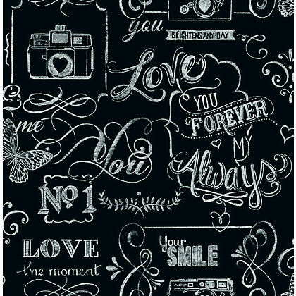Image for Fresco Chalkboard Messages Black Wallpaper from StoreName