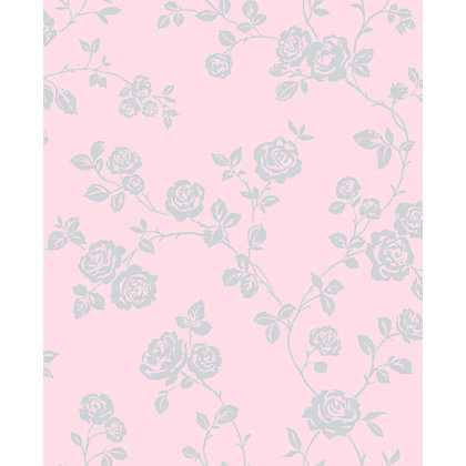 Image for Sparkle Rose Trail Wallpaper - Pink from StoreName