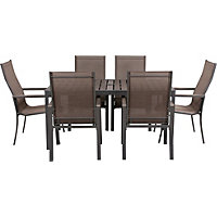 amalfi 6 seater patio furniture dining set grey collections