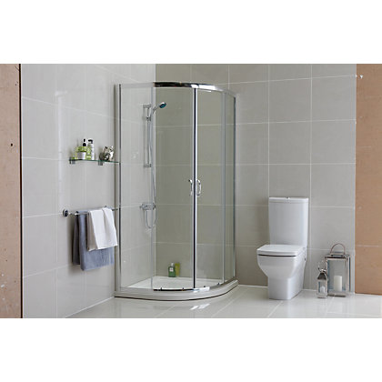 Image for Aqualux Crystal Quadrant Shower Enclosure - 1850 x 900mm - Silver from StoreName