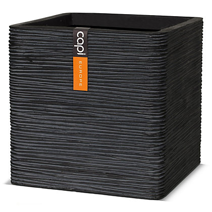 Image for Ribbed Square Cube Garden Planter - 40cm from StoreName