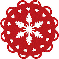 Red Felt Cut Out Coasters - Set of 4