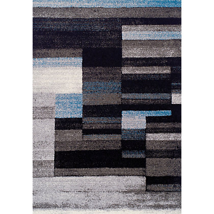 Image for Kaye Stripe Grey & Blue Rug - 120 x 170cm from StoreName