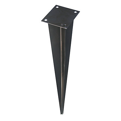 Image for Rothley Black Galvanised Steel Fence Post Support Spike - 7 x 7cm Post from StoreName