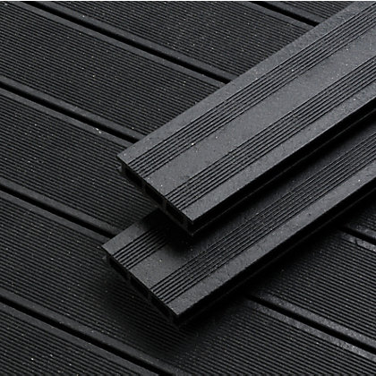 Rothley terra black composite decking 50 pack for Garden decking homebase