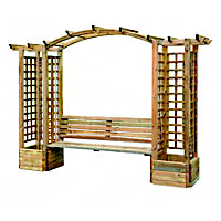 Rothley Wooden Bench Arch with 2 Planters and Trellis