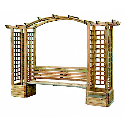 Image for Rothley Wooden Bench Arch with 2 Planters and Trellis from StoreName