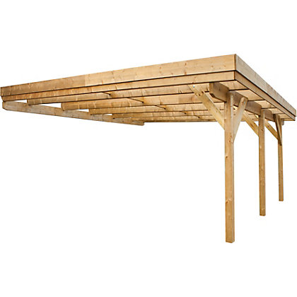 Image for Rothley Lean-To Carport Framework Kit with roof - 12 x 18ft from StoreName