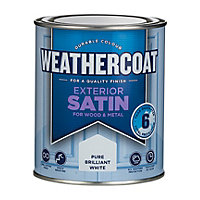 Homebase Weathercoat Pure Brilliant White - Exterior Satin Paint - 750ML