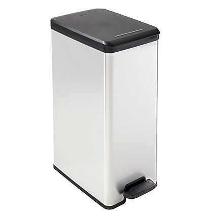 Image for Curver 40L Deco Pedal Bin - Silver from StoreName