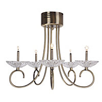 5 Light Antique Brass Ceiling Light